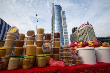 Honey and apples are seen at a market during the annual autumn agriculture fair in Minsk