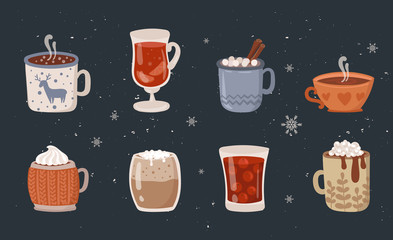 Vector collection of hot drinks. Hot chocolate, coffee, cocoa with whipped cream and marshmallow, mulled wine. Autumn and winter holidays Fototapete