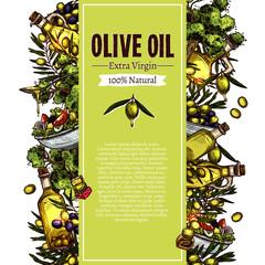 Olive Oil Sketch Banner Design. Hand Drawn Illustration