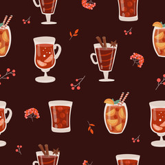 Vector seamless pattern with hot drinks in flat design. Mulled wine, cocktail, branch, berry. Autumn and winter holidays