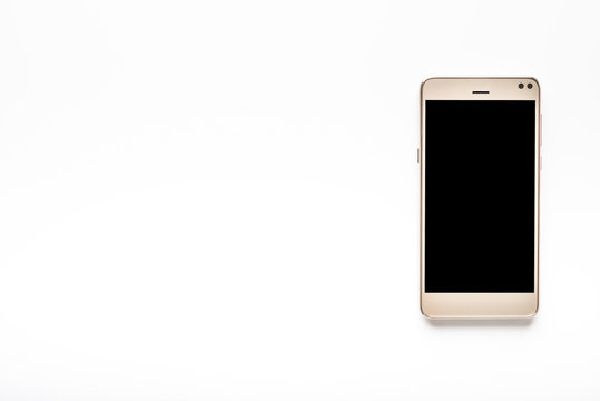 Modern smartphone screen, black touchscreen of mobile phone isolated on white background