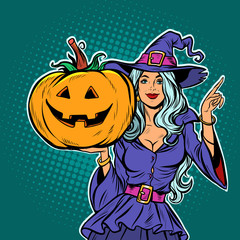 witch with Halloween pumpkin