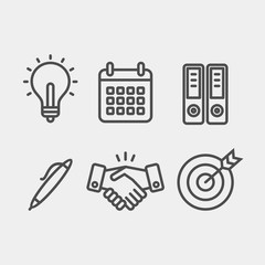 Business flat vector icons set. Calendar, light bulb, pen, folders, target, handshake, partners flat vector icons