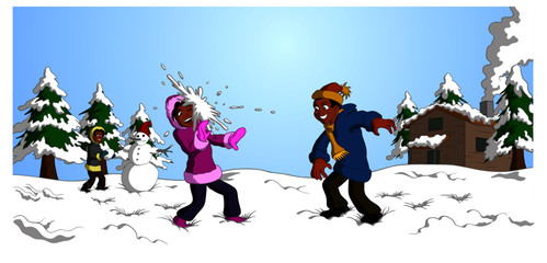Vector illustration of happy black children dressed in colorful winter clothes having snowball fight with background including snowman, cabin and trees.