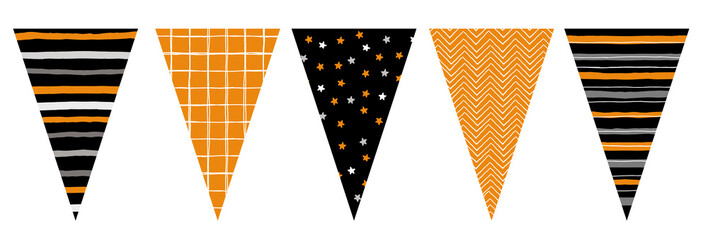 Cute Hand Drawn Design Vector Bunting. Party Decoration. Do It Yourself. Various Patterns Set. Lines, Grid, Stars And Chervron Irregular Design. Party Garland Elements. Orange, Black, Gray and White C