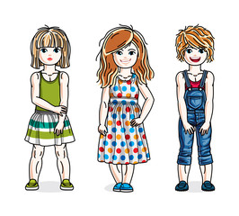 Different cute little girls standing wearing casual clothes. Vector set of beautiful kids illustrations.