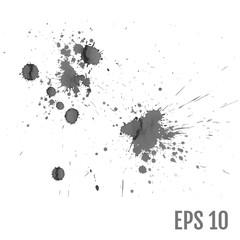 Set of gray splash on white background vector illustration. All
