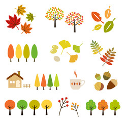 秋の紅葉|イラストセット