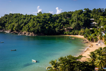 Beautiful tropical beach in Trinidad and Tobago, Caribe - blue sky, trees, sand beach, wood boats