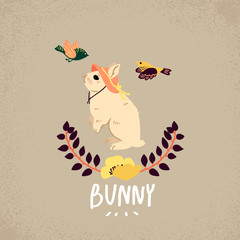 Bunny with slogan. For print, baby clothes, t shirt, child or wrapping paper. Kids apparel