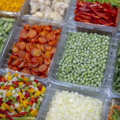 Frozen vegetables in the fridge.