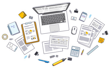 Office employee or entrepreneur work desk workplace with PC notebook and analytics papers with graphs and data and stationery objects on table. All elements are easy to use separately. Vector.