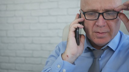 Businessman Image Talking to Cellphone Interior Office