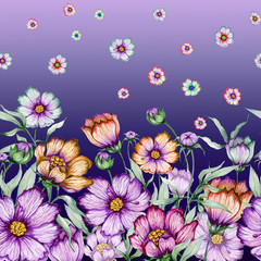 Beautiful cosmos flowers with green leaves on purple background. Seamless floral pattern. Watercolor painting. Hand drawn and painted illustration