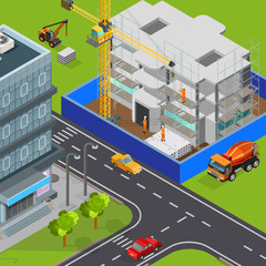 Urban Construction Isometric Composition