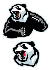 panda in sport mascot angry set
