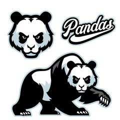 panda mascot istyle with separated head
