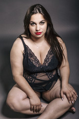 Beautiful woman plus size in lingerie