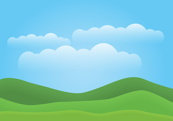A simple illustration of a mountain landscape with green hills, blue sky and white clouds. With space for text.