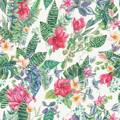 Vector seamless pattern of tropical flowers and leaves