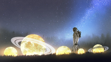 Foto op Aluminium Grandfailure astronaut looking at stars on the grass, digital art style, illustration painting