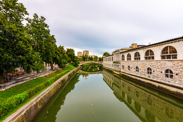 View of river in Ljubljana city. River in city centre, old architecture and historical building in Slovenia capital