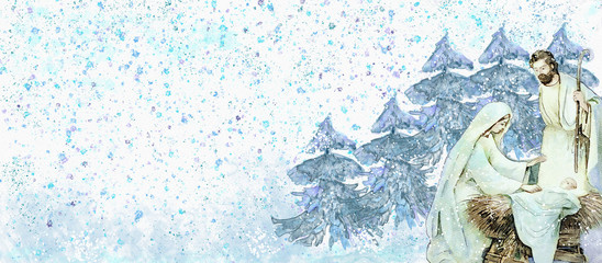 Nativity scene.Merry Christmas watercolor background