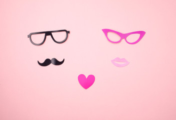 Paper mustache and glasses, Paper Women's lips, pink heart. Set of photobooth accessories for wedding, Valentine's Day, love