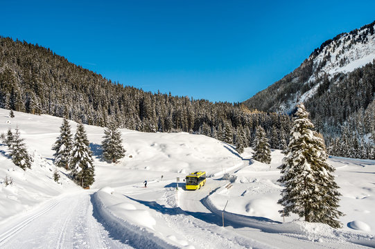 Winter landscape of Austrian alps.