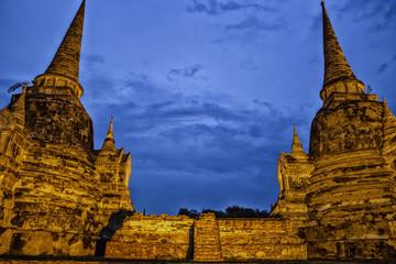 Light up of Wat Phara Si Sanphet temple in Ayutaya Thailand