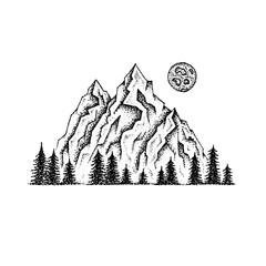 Dotwork Mountain Landscape