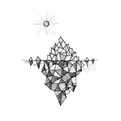 Dotwork Polygonal Mountain