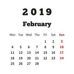 Simple calendar on february 2019 year with week starting from monday isolated on white