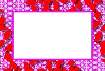和風背景素材,写真枠,秋の風景,銀杏の葉,コピースペース,落ち葉,枯れ葉,紅葉,伝統模様,イチョウ,
