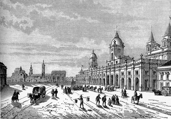Santiago, Chile - Plaza de las Armas, the main square of the city with historic buildings and the palace of government, vintage engraving