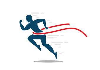 Man sprint running to win flat icon