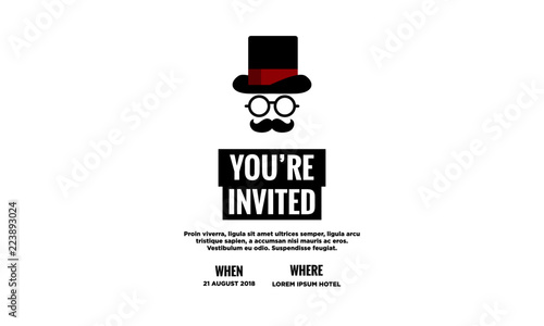 formal event invitation template with hat spectacles and moustache