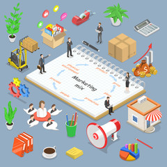 Isometric flat vector concept of marketing mix model, business concept strategy.