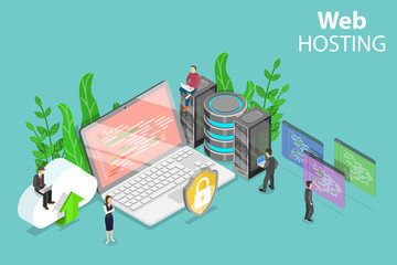 Isometric flat vector concept of web hosting service, cloud computing, data center.