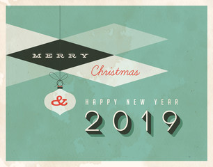 Vintage style 2019 greetings card - Vector EPS10. Grunge effects can be easily removed for a brand new, clean sign.