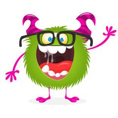 Funny cartoon monster wearing eyeglasses