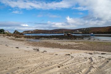 Low tide between Bryher and Tresco on the Isles of Scilly, UK