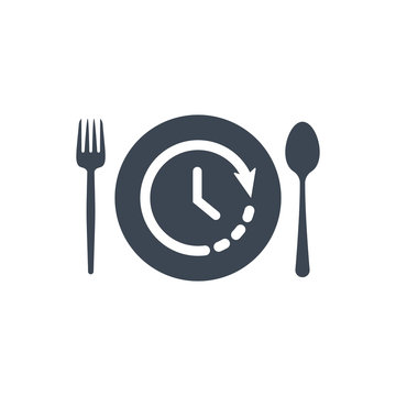 Restaurant icon, fork and spoon, plate icon with time sign. Restaurant icon and countdown, deadline, schedule, planning symbol