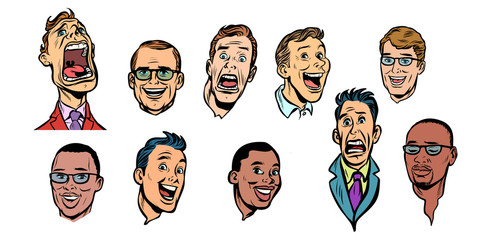 men face set collection. isolate on white background