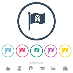 Pirate flag flat color icons in round outlines