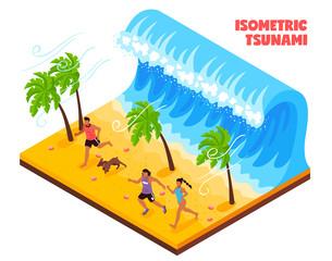 Tsunami Isometric Illustration