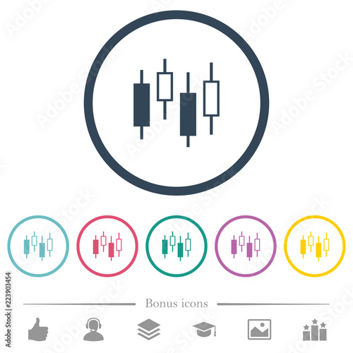 Candlestick Chart Flat Color Icons In Round Outlines Stock Image
