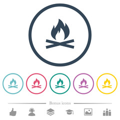 Camp fire flat color icons in round outlines