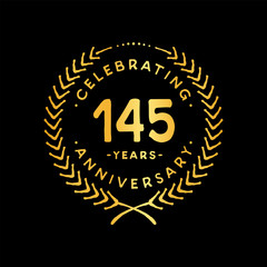 145 years design template. 85th vector and illustration.