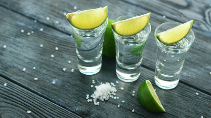 Row of glass shots with tequila and green sour lime slices on wooden table with heap of salt